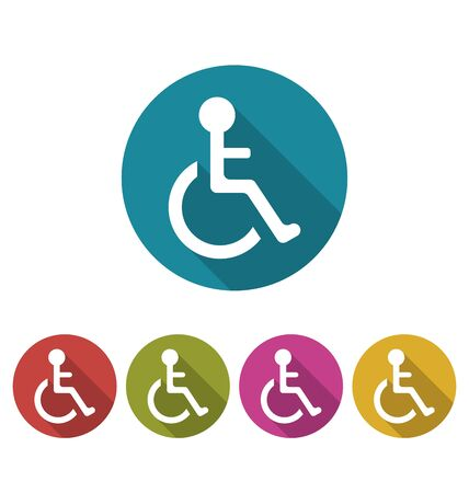 limited access: Illustration Set Colorful Pictogram of Disabled in Wheelchair, Modern Design with Long Shadows