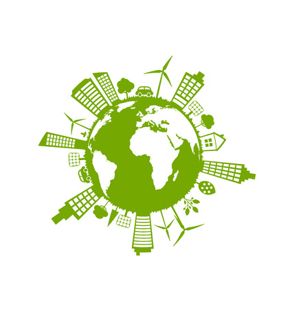 green environment: Illustration Green Futuristic World, Concept. Environment with Solar Panels and Wind Generators