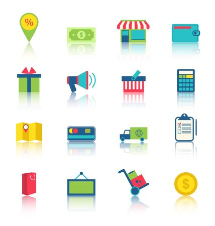 epayment: Illustration Colorful Simple Icons of E-commerce Shopping Symbol, Online Shop Elements and Commerce Item Stock Photo