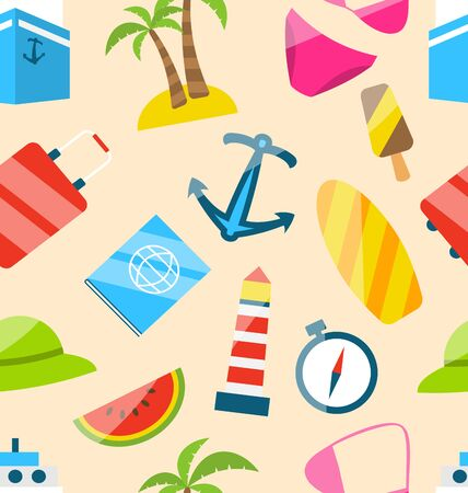 watermelon boat: Illustration Seamless Texture of Travel on Holiday Journey, Summer Flat Icons - raster Stock Photo