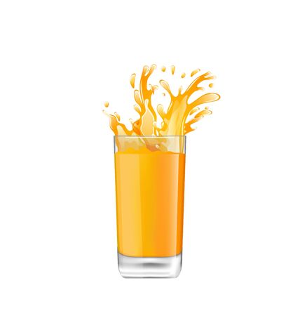 orange juice: Illustration Orange Juice in Glass with Splash, Isolated on White Background - raster Stock Photo