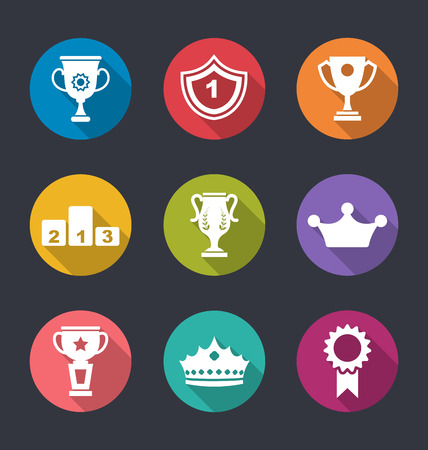 award winning: Illustration Award Flat Icons Set of Prizes and Trophy Signs, Long Shadow Style Stock Photo