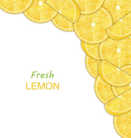 citric: Illustration Abstract Border with Sliced Lemons on White Background