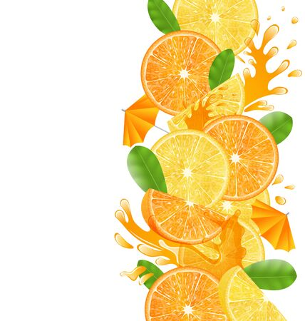glassful: Illustration Abstract Border with Sliced Oranges and Lemons, Leaves and Juice Splash Fruits, Isolated on White Background
