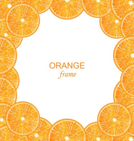citric: Illustration Abstract Frame with Sliced Oranges on White Background
