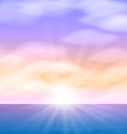 sunrise clouds: Sea Sunrise with Bright Sun Colorful Sky Fluffy Clouds Stock Photo