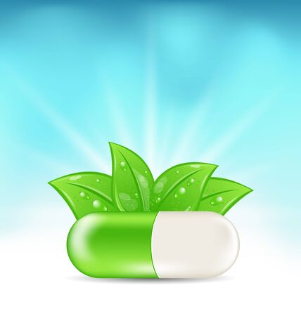pharmaceutics: Illustration Natural Medical Pill with Green Leaves, on Blue Illuminated Background