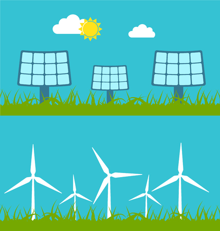 sources: Illustration Abstract Banners with Solar Panels and Wind Generators, Alternative Sources Energy Stock Photo