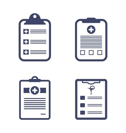 clipboard isolated: Illustrations Set Medical Records Clipboard Isolated on White Background