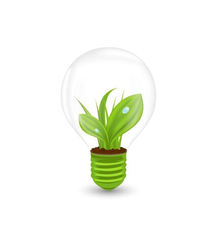 eco energy: Illustration Lamp with Green Grass Inside, Concept of green Eco Energy