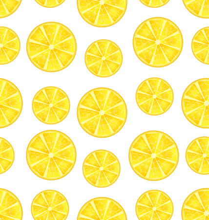 repetition: Illustration Seamless Texture with Slices of Lemons, Repetition Background