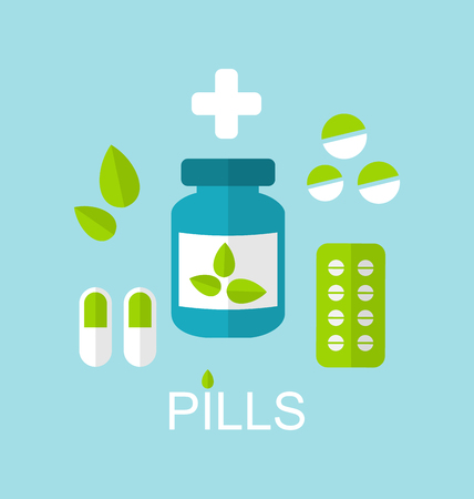 natural medicine: Illustration Flat Icon of Tablets Pills, Capsules, Drugs and Leaves, Alternative Medicine