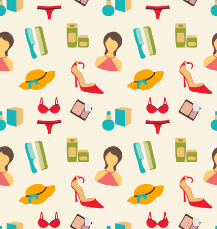underclothes: Illustration Seamless Pattern of Beauty and Makeup Accessories, Fashion Wallpaper