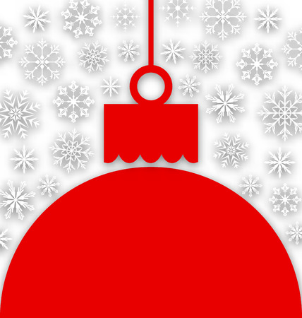 paper ball: Illustration Snowflake Background with Christmas Paper Ball - Vector Illustration