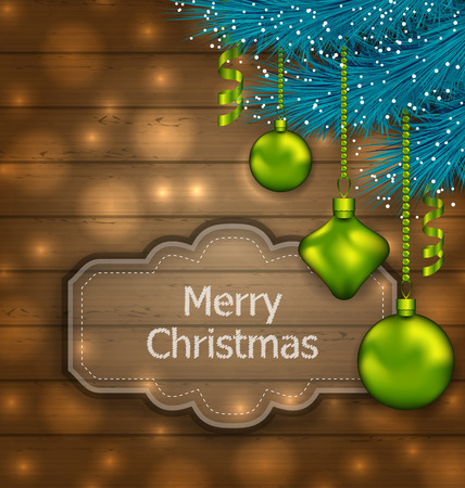 twigs: Illustration Christmas Card with Balls and Fir Twigs on Wooden Texture with Light - vector Illustration