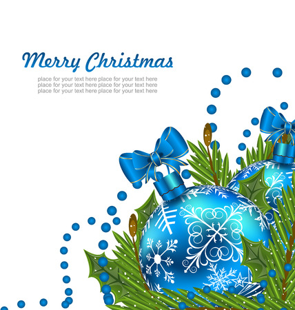 furtree: Illustration Greeting Postcard with Christmas Balls and Adornment - Vector Illustration