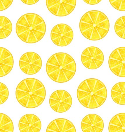 Illustration Seamless Texture with Slices of Lemons, Repetition Background - Vector