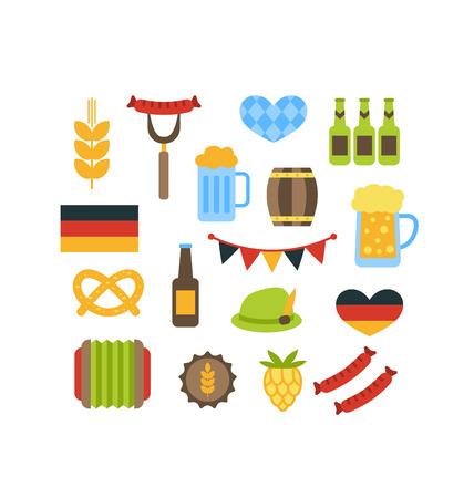 wiesn: Illustration Oktoberfest Symbols Isolated on White Background - Vector