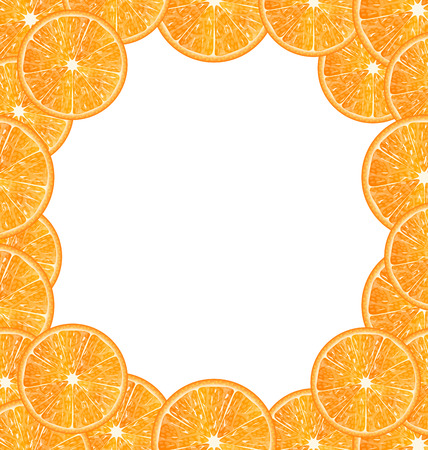 citric: Illustration Abstract Frame with Sliced Oranges, Copy Space for Your Text - Vector