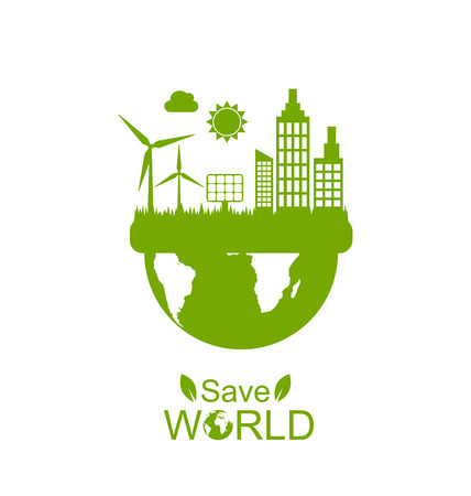 generators: Illustration Concept of Save World, Green Houses, Solar Panels and Wind Generators - Vector