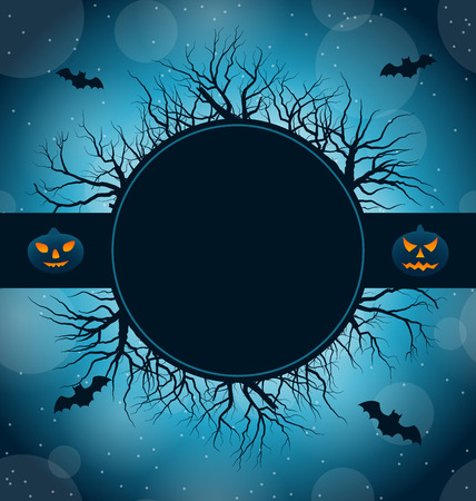 31th: Illustration Celebration Card for Halloween Party, Abstract Dark Background - Vector Illustration