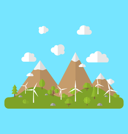 alternative energy sources: Illustration Environment with Wind Generators, Green Valley, Trees, Mountain, Blue Sky. Concept of Alternative Energy Sources - Vector