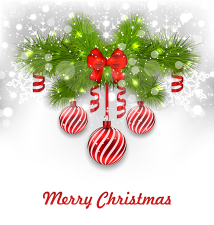 streamer: Illustration Christmas Glowing Greeting Background with Fir Branches, Glass Balls, Ribbon Bows, Streamer - Vector