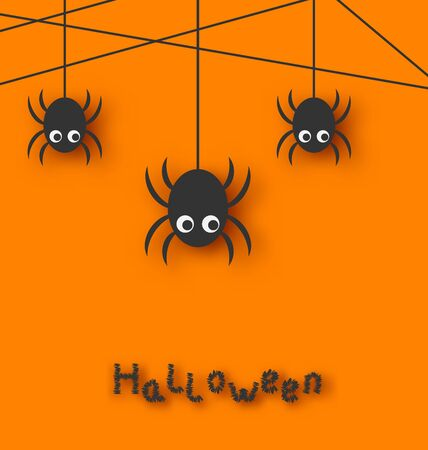 cartoon spider: Illustration Cute Funny Spiders and Cobweb for Halloween, Simple style with Shadows - Vector