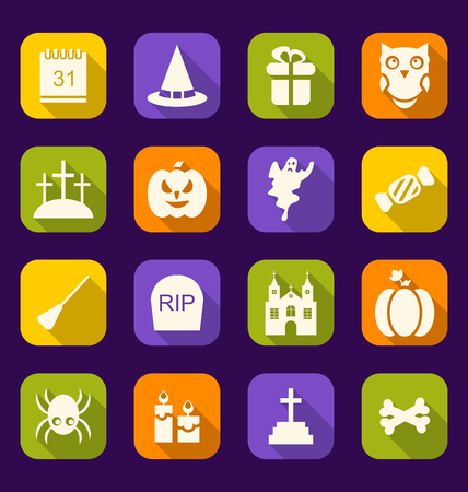 31th: Illustration Halloween Flat Icons with Long Shadows - Vector