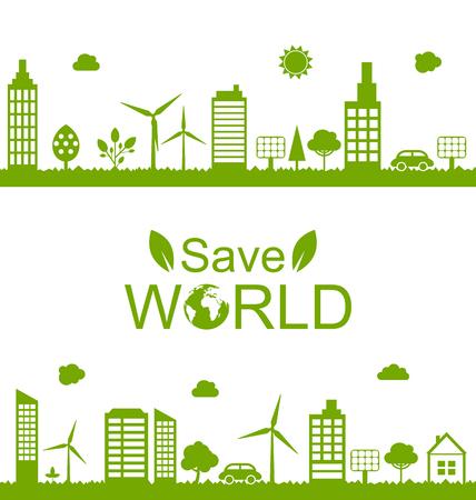 windmills: Illustration Concept Green Futuristic World, Green Houses, Solar Panels and Windmills - Vector