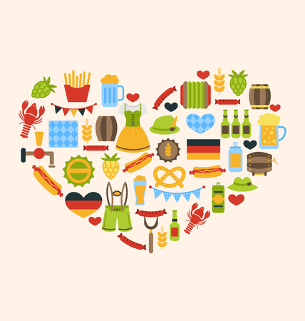 Illustration Heart made in Oktoberfest Traditional Symbols - Vector