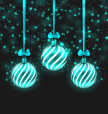 shimmering: Illustration Christmas Dark Shimmering Background with Turquoise Glassy Balls - Vector Illustration