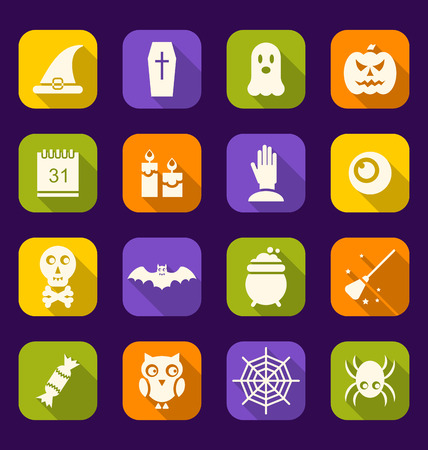 besom: Illustration Halloween Flat Icons with Long Shadows - Vector