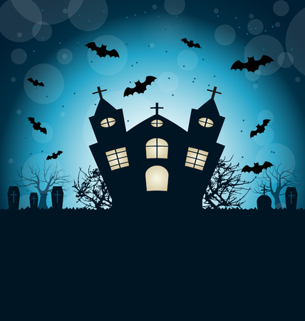 31th: Illustration Halloween Abstract Background with Castle, Bats, Cemetery. Copy Space for Your Text - Vector