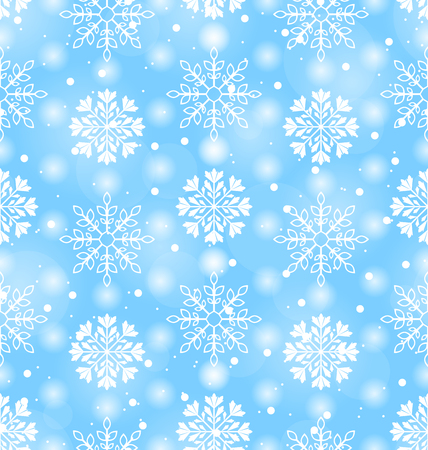 variation: Illustration Seamless Texture with Variation Snowflakes, Holiday wallpaper - Vector