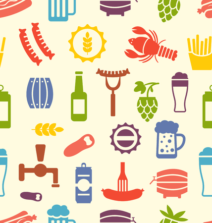 beers: Illustration Seamless Texture with Colorful Icons of Beers and Snacks, Food Wallpaper - Vector