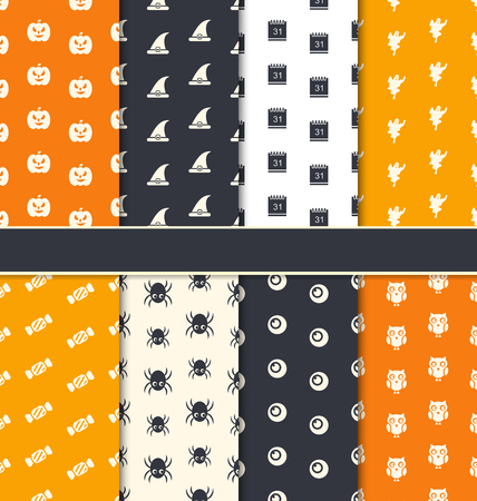31th: Illustration Group Seamless Patterns for Happy Halloween - Vector Illustration