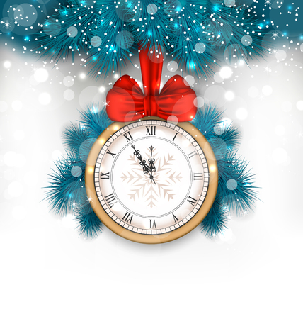 navidad: Illustration New Year Midnight Background with Clock and Fir Twigs - Vector