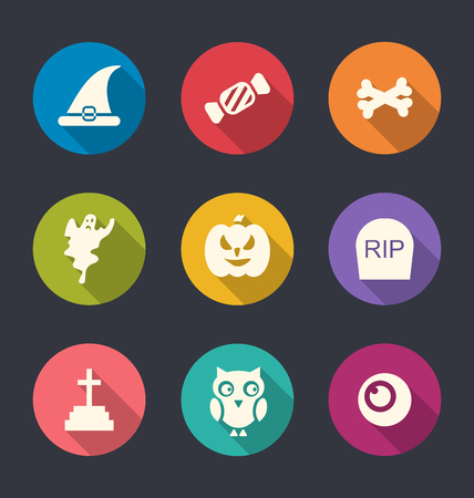 31th: Illustration Collection Flat Icons of Halloween Symbols, Long Shadows - Vector