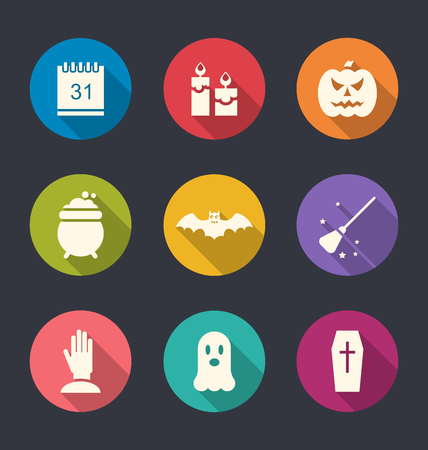 Illustration Party Flat Icons with Halloween Elements and Objects - Vector