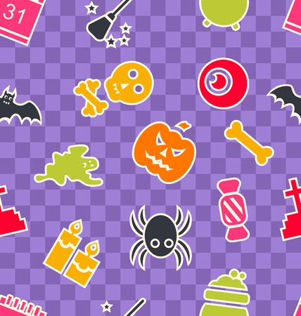 31th: Illustration Seamless Abstract Pattern with Cartoon Colorful Halloween Symbols - Vector