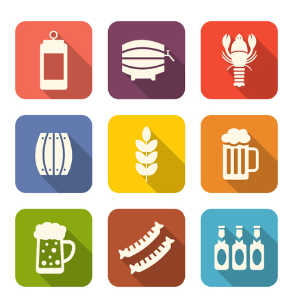 beers: Illustration Collection Minimal Icons of Beers and Snacks, Long Shadows Style - Vector Illustration