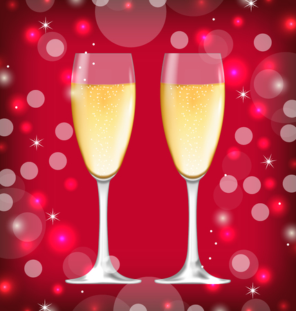 shimmering: Illustration Shimmering Background with Realistic Glasses of Champagne - Vector