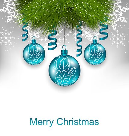 adornment: Illustration Christmas Greeting Card with Traditional Adornment - Vector Illustration