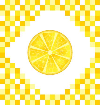 tiled: Illustration Sliced Lemon on Yellow Tiled Background - Vector