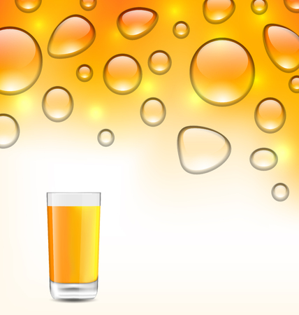 limpid: Illustration Clean Water Droplets with Orange Juice with Glass, Orange Background - Vector
