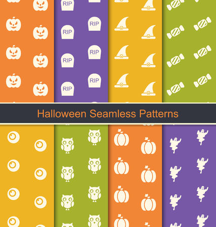 gourds: Illustration Set Seamless Abstract Patterns with Halloween Symbols - Vector Illustration