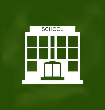 escuela edificio: Ilustración edificio escolar pintado con tiza en la pizarra - vector Vectores
