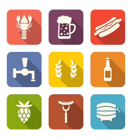 long drink: Illustration Set Colorful Icons of Beers and Snacks, Long Shadows Style - Vector