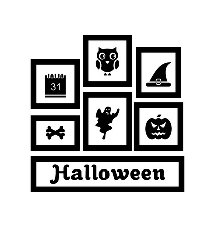 31th: Illustration Frames with Halloween Traditional Symbols, Isolated on White Background  - Vector